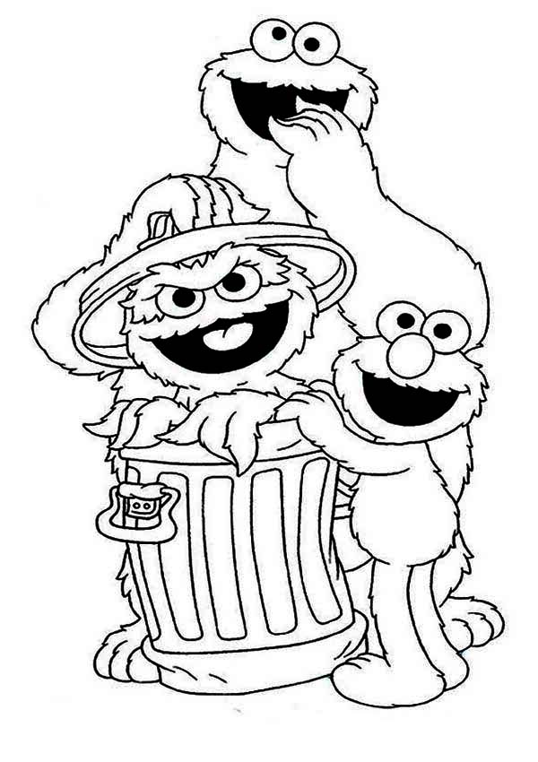 cookie and elmo with oscar in garbage can in sesame street coloring page - Sesame Street Coloring Pages Elmo