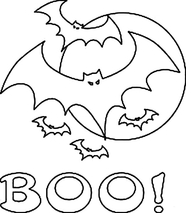 Bats, : Creepy Bats in the Night Coloring Page