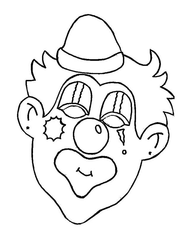 Clown, : Creepy Clown Head Coloring Page
