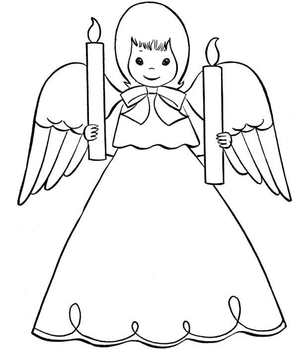 Angels, : Cristmas Angels Bring Light of Two Candle Coloring Page