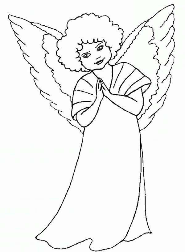 Angels, : Curly Hair Angels Coloring Page