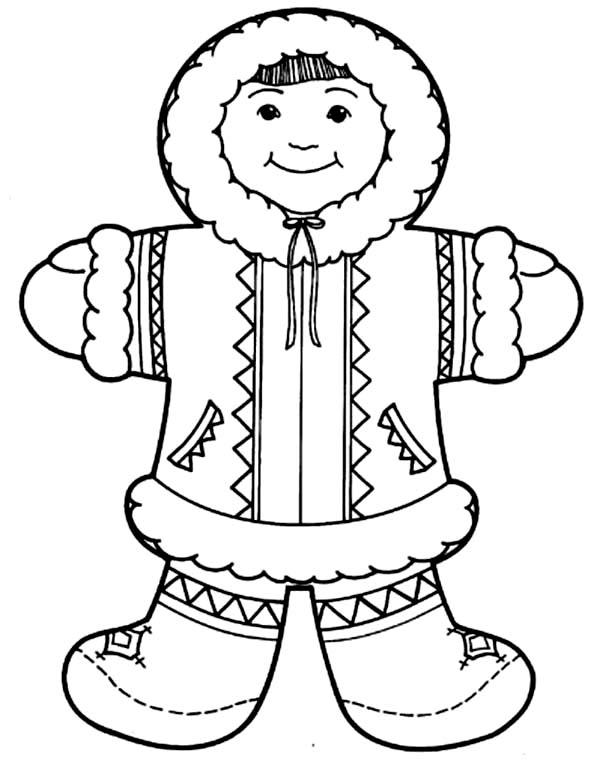 Eskimo, : Cute Eskimo Girl Coloring Page