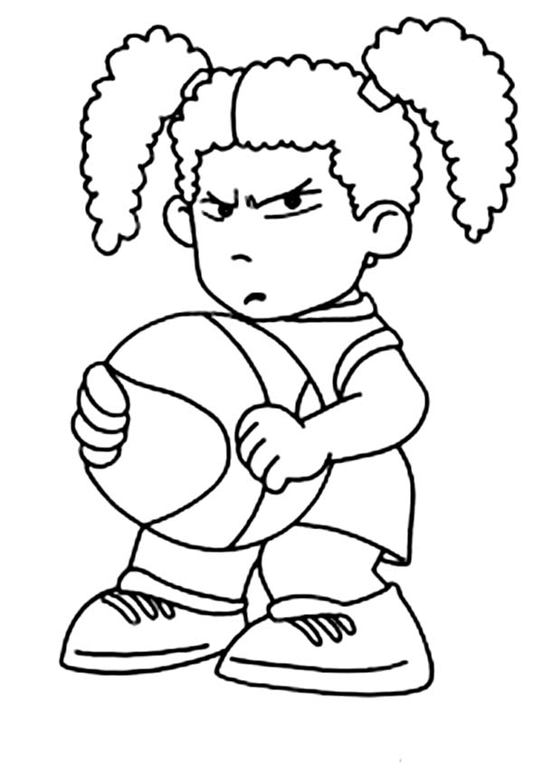 NBA, : Cute Little WNBA Player in NBA Coloring Page