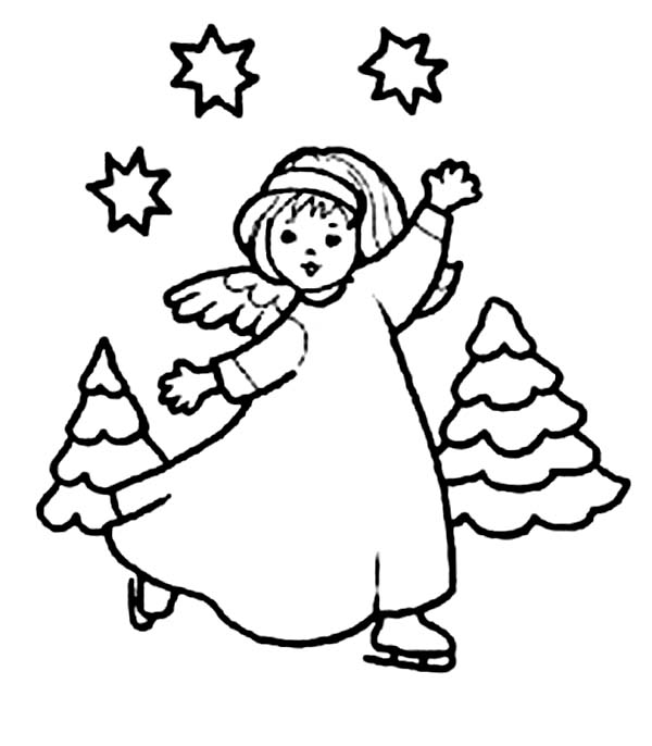 Angels, : Dancing Angels with Stars and Cristmas Tree Coloring Page