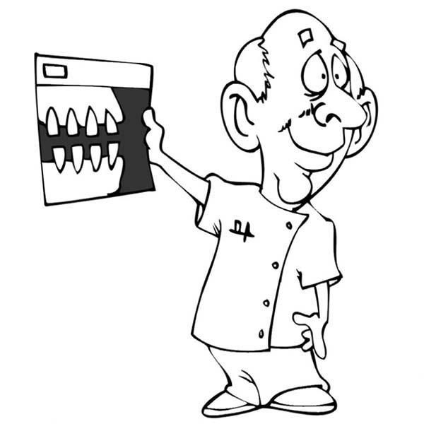 Dental Health, : Dentist Show Good Teeth in Dental Health Coloring Page