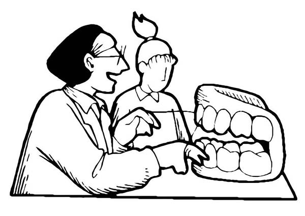 Dental Health, : Dentist Teach About Dental Health Coloring Page