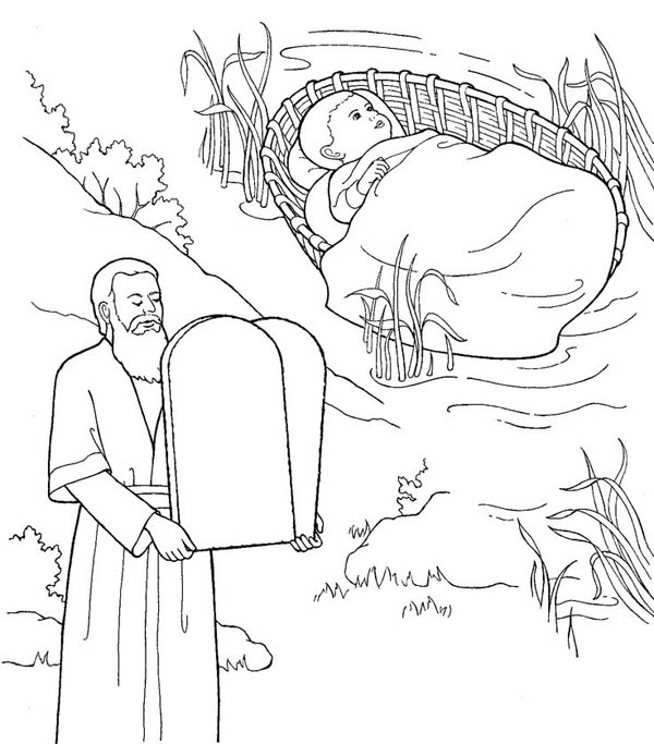 Moses, : Depiction of Moses Coloring Page