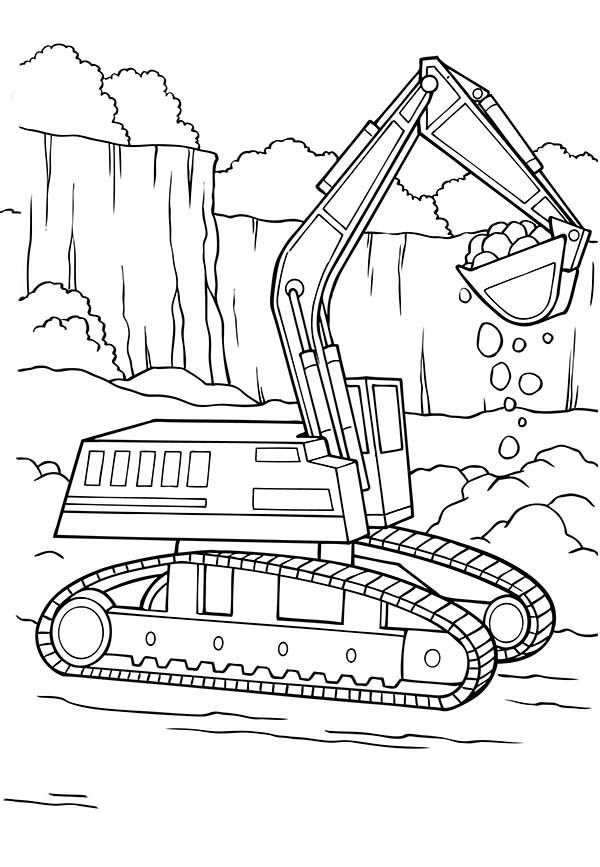 Digger, : Digger Tractor is Digging Coloring Page