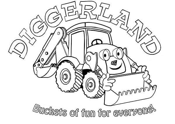Digger, : Digger on Diggerland Coloring Page