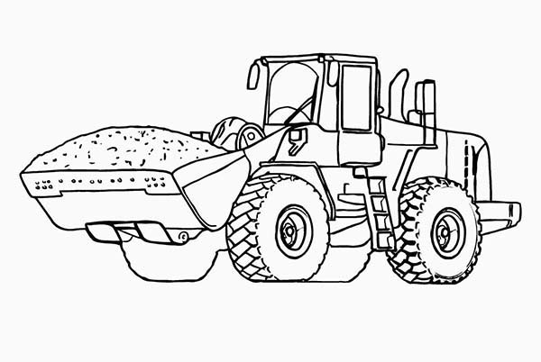 digger dirt tractor in digger coloring page