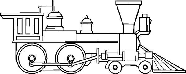 Trains, : Drawing of Steam Train Locomotive Coloring Page