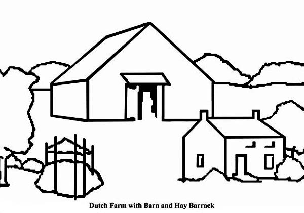 Barn, : Dutch Farm with Barn and Hay Barrack Coloring Page