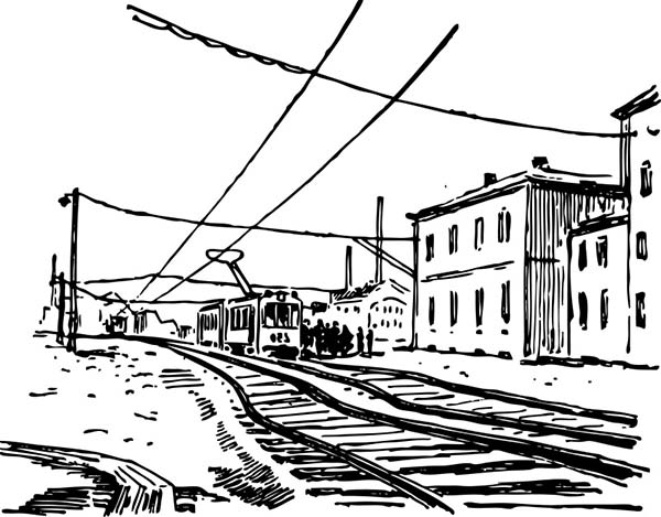 electric train railroad coloring page