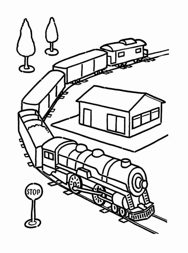Railroad, : Electric Train Set Toy and on Railroad Coloring Page