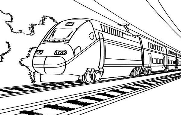 electric train on railroad coloring page