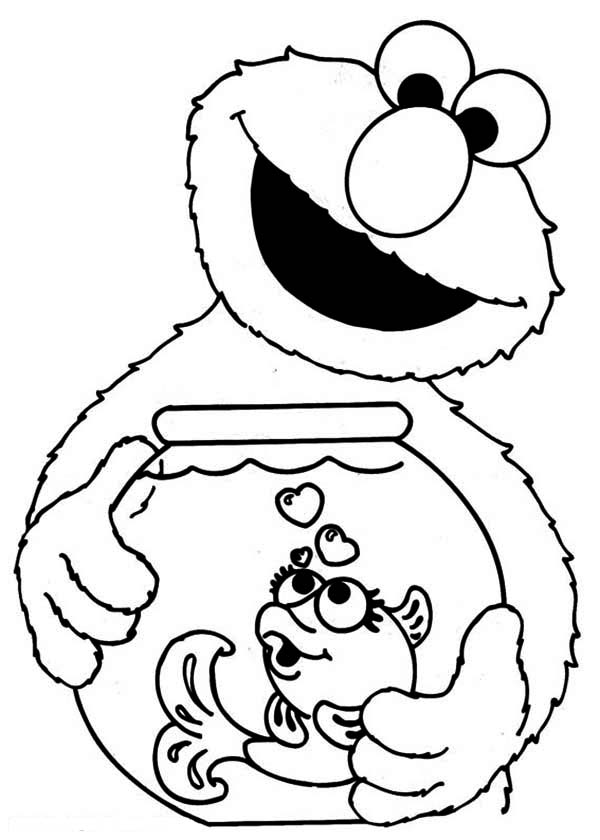 Elmo Holding Fish Bowl In Sesame Street Coloring Page