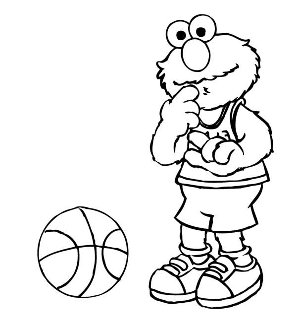 Elmo Playing Basketball In Sesame Street Coloring Page