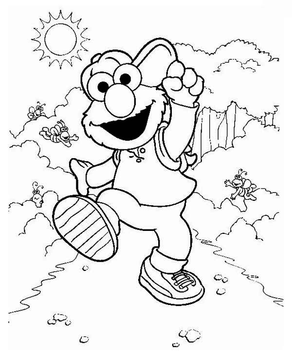 Elmo Take a Vacation in in Sesame Street Coloring Page | Color Luna
