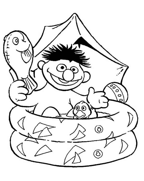 Ernie Bathing in Plastic Pool in Sesame Street Coloring Page Color