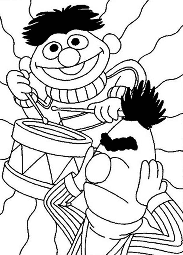 Sesame Street, : Ernie Playing Drum in Sesame Street Coloring Page