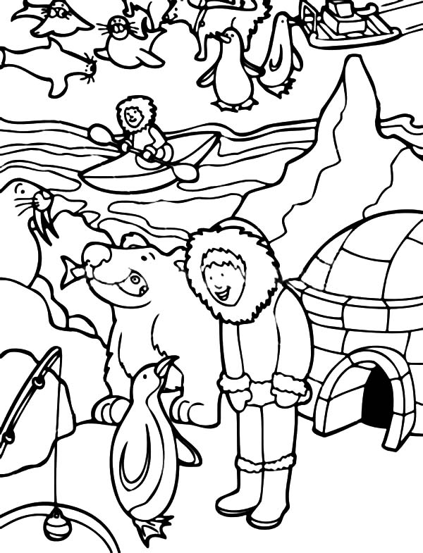 Eskimo Activity in Alaska Coloring Page | Color Luna