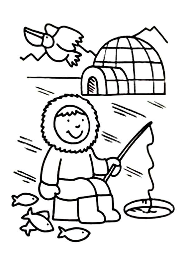 Eskimo fishing hole coloring page
