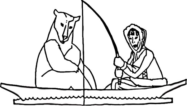 Eskimo Fishing On A Boat With Polar Bear Coloring Page