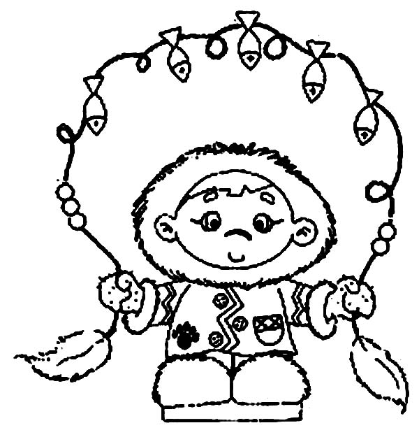 Eskimo, : Eskimo Girl Catch a Lot of Fish Coloring Page