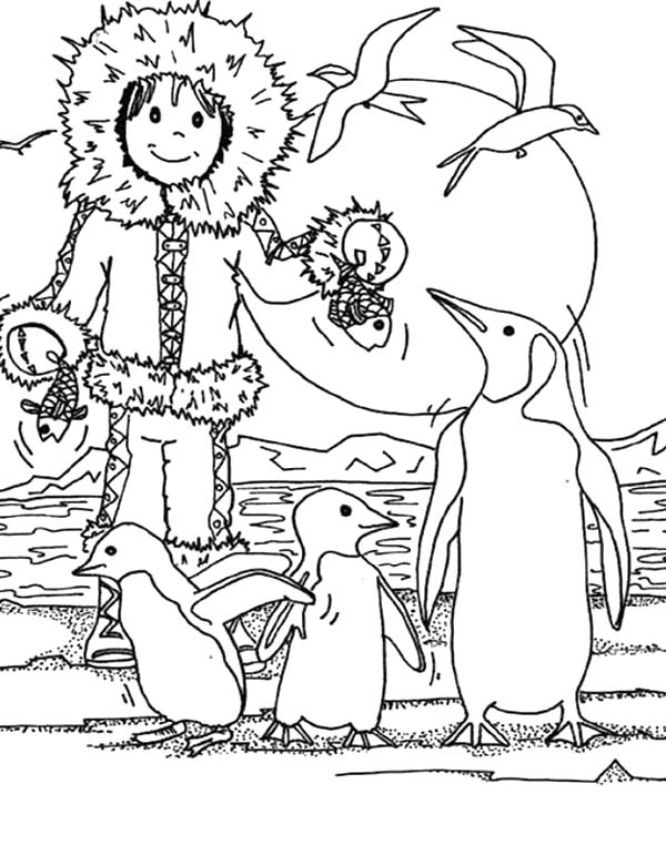 Eskimo, : Eskimo Girl Feeding Pinguin with Fish Coloring Page
