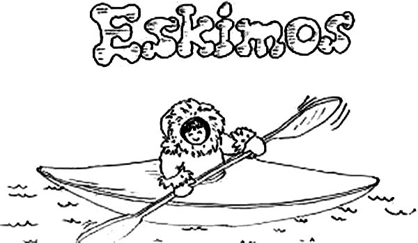 Eskimo, : Eskimo Ride Kayak Coloring Page