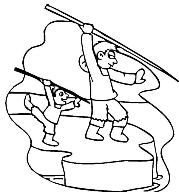 Eskimo, : Eskimo Teach His Son Hunting Coloring Page