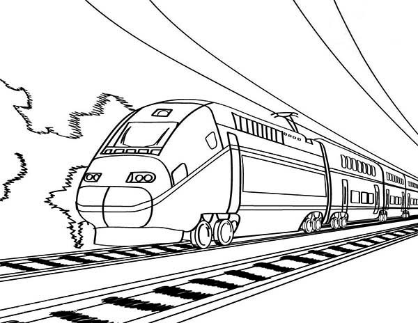 Trains, : European High Speed Train Coloring Page
