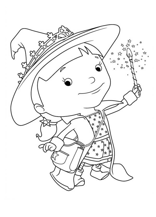 Mike the Knight, : Evie Playing Firework in Mike the Knight Coloring Page