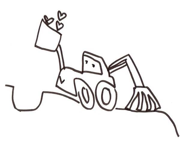 Digger, : Excavator Digging for Some Love in Digger Coloring Page