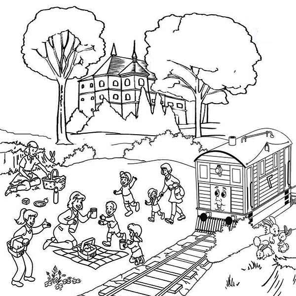 Steam Engine Train Drawing Cartoon Sketch Coloring Page