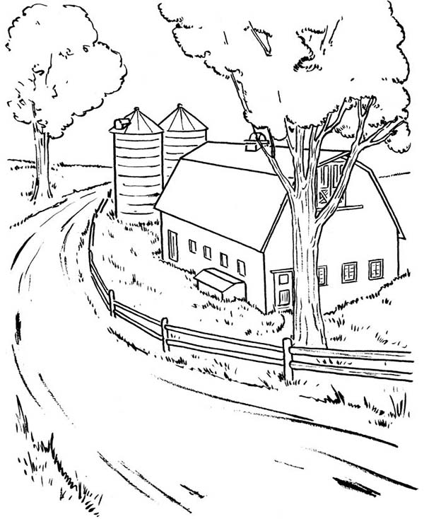 farming barn coloring page