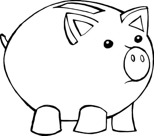 Piggy Bank, : Fat Piggy Bank Coloring Page