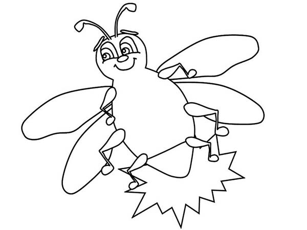 Firefly, : Firefly Beautiful Little Light Coloring Page