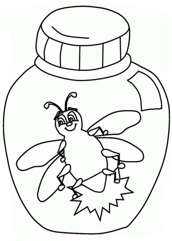Firefly, : Firefly in a Jar Coloring Page