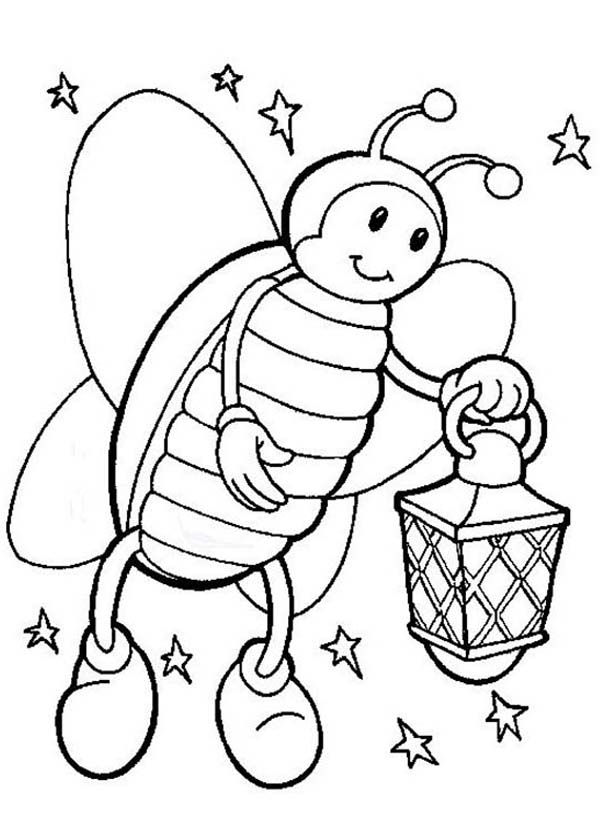 firefly coloring page - firefly on starry night hold a lamp coloring page color luna