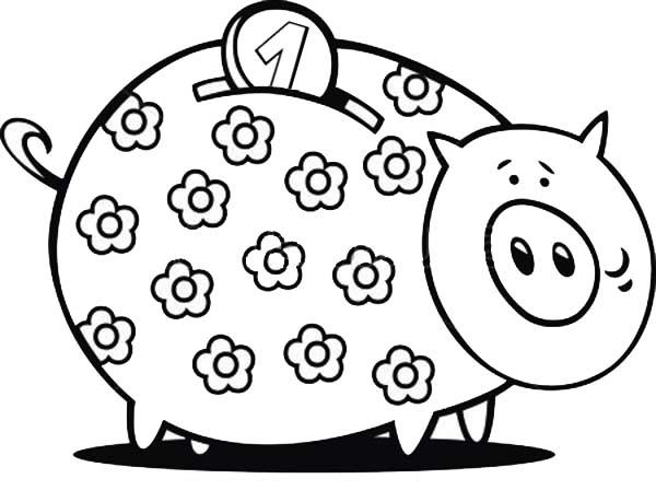 Piggy Bank, : Floral Piggy Bank Coloring Page