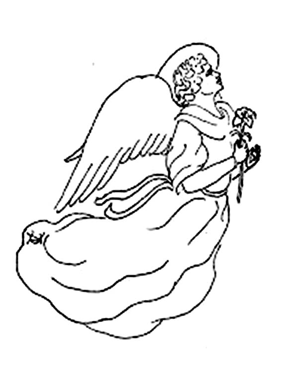 Angels, : Flying Angels with Flower Coloring Page