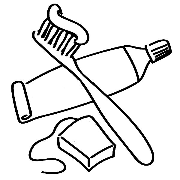 Dental Health, : For Dental Health You Need Dental Flosh and Tooth Brush with Tooth Paste Coloring Page