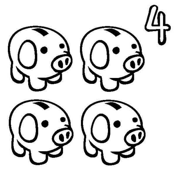 Piggy Bank, : Four Piggy Bank Coloring Page