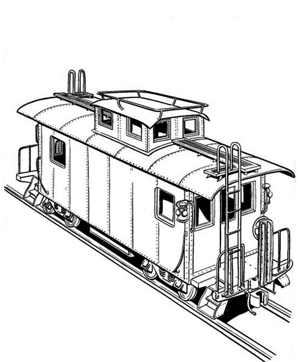 Railroad, : Freight Train on Railroad Coloring Page