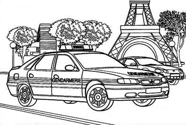 French Police Car Coloring Page