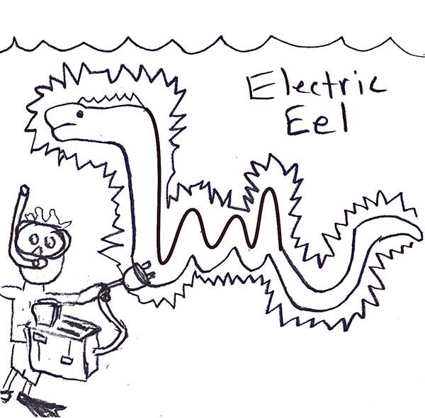 funny picture of electric eel coloring page