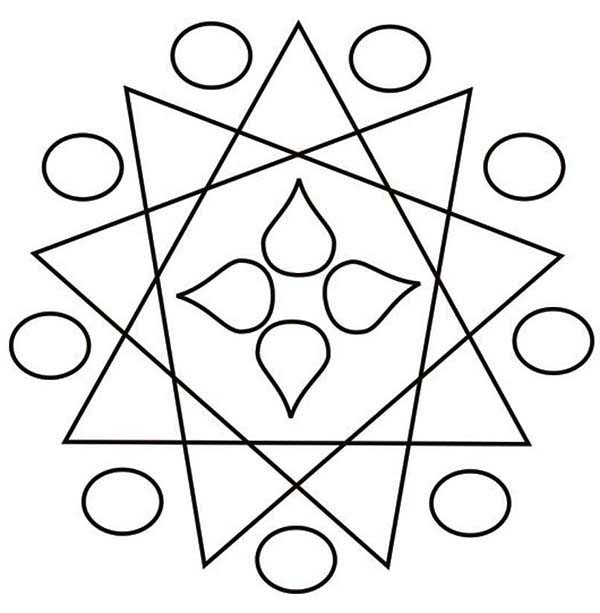 Geometric Design Rangoli Coloring Page