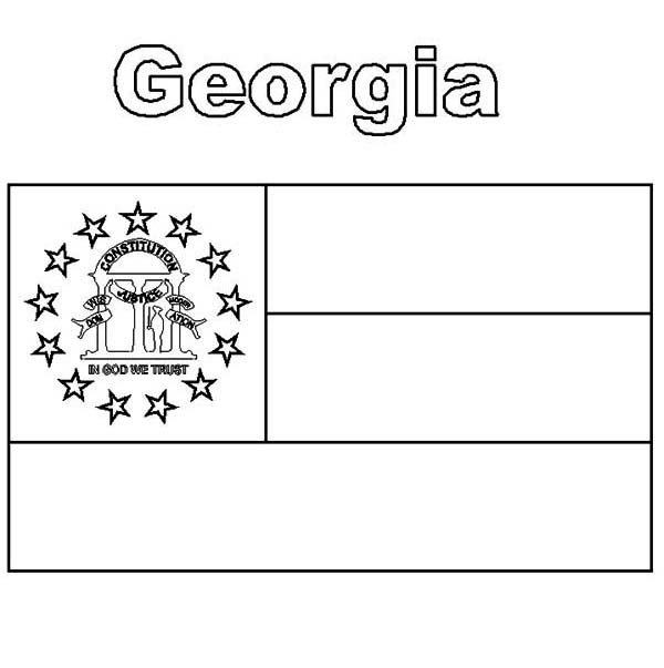 Georgia State Flag Coloring Page Color Luna