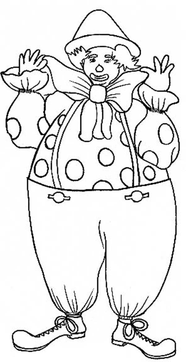 Clown, : Greeting Clown Coloring Page